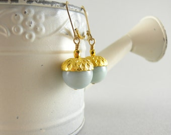 Golden Mist Stone Acorn Earrings with Free USA Shipping