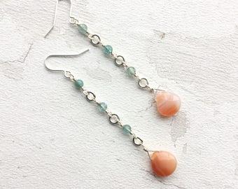 Boho earrings, gemstone earrings, carnelian earrings, orange earrings, gemstone jewellery, long earrings, dangle earrings, drop earrings
