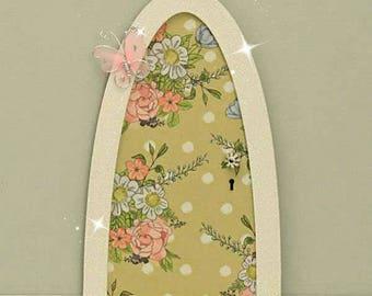 Vintage Flowers Fairy Door, Indoor Fairy Door, Skirting Board Fairy Door, Shelf Sitting Fairy Door, Handmade by Jennifer