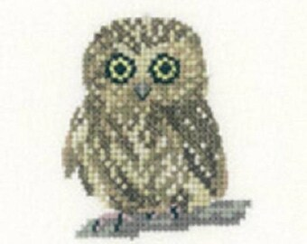Owl  Cross Stitch Kit from  Heritage Craft Little Friends on 14ct Aida, needlework kit, cross stitch, counted cross stitch kit, owl  kit