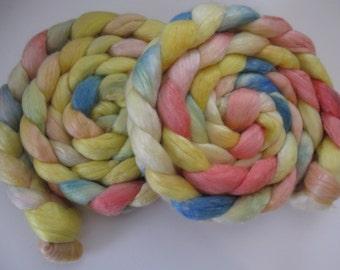 Beach Sunshine merino/ Tencel Blend Wool Roving (Top) - Handpainted Spinning or Felting Fiber - 4 ounces