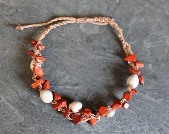 "Bracelet ""Pagan"", red Jasper and seed - Spirit Collection - Pagan spirit, Tribal, ethnic"