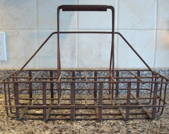Very nice old metal service station oil bottle rack/carrier with handle- holds 12 bottles