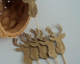 Deer Cupcake Topper 12 Ct, Gold Glitter Decoration, Gold Reindeer Topper, Christmas Cupcake Topper.