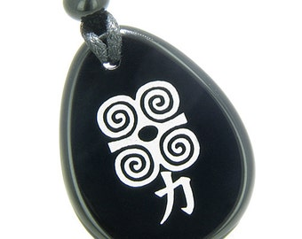 Amulet Supernatural Energy Power Magic Kanji Spiritual Black Agate Pendant Necklace