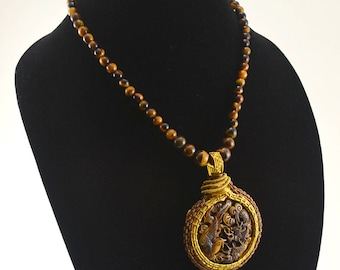 Wire Wrapped Carved Tigers Eye Dragon vs Phoenix Pendant and Necklace