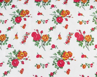 Oilcloth KT2818 in white with Rose print