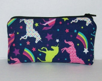 "Pipe Pouch, Unicorn Star Rainbow, Pipe Case, Pipe Bag, Glass Pipes, Padded Pipe Pouch, Zipper Bag, Magical, 420, Smoke Accessory- 5.5"" SMALL"