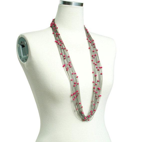 Boho Chic Long Necklace - Pink