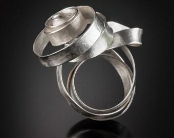 Silver Rose Ring OOAK