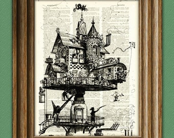 Retro-futuristic Aerial House steampunk illustration beautifully upcycled dictionary page book art print
