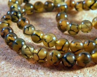 5 agate beads 6 mm AG100 dragon vein