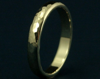 Men's Wedding Band--4mm Wide by 2mm Thick Hammered Band--Solid 14K Gold Ring--Hammered Wedding Ring--Women's Wedding Band