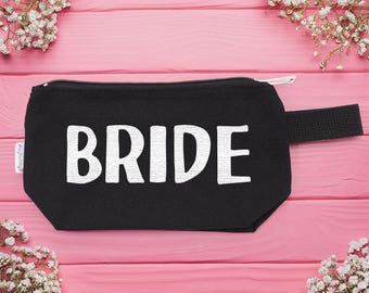 bride - Makeup Bag - girlfriend gift, bridesmaid gift, shower gift