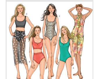 Butterick 4526 Misses' Swimsuit, Bikini and Wrap Sewing Pattern, New Size 6-8-10-12, Easy