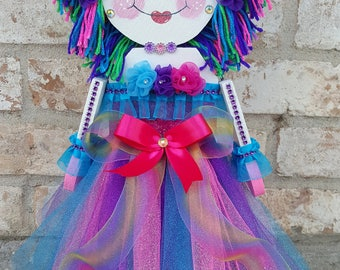 OOAK Decorative Art Handcrafted Unicorn Painted Wood Art Shelf Sitter Doll