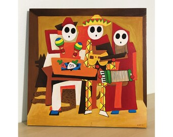 Three Mariachi Guys - Original Shy Guy Painting - Pablo Picasso Parody - Alternative Three Musicians - Nintendo Video Game - Shyguys