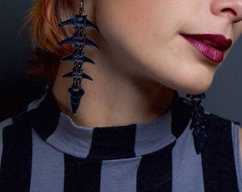 Black Mirrored Spine Bone Earrings