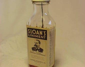 c1950s Sloan's Liniment Morris Plains, N.J. , With paper label ,Labeled Medicine Bottle, Drug Store Decor