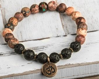 Mala Bracelet, Men Bead Bracelet, Yoga Bracelet, Leopard Jasper Bracelet, Lava Stone Bracelet, Charm Bracelet