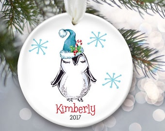 Penguin Ornament Personalized Christmas Ornament Personalized Penguin Ornament, Gift for her, Gift for him, Baby Gift, Child gift  OR870