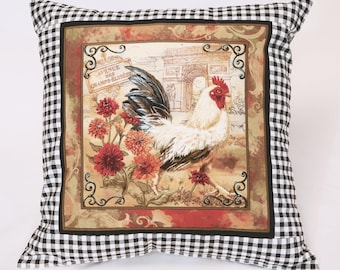 French rooster pillow