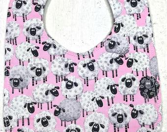 Sheep Baby Bib - dribble bib - infant bib  - Animal bib - sheep - baby girl - baby shower gift - black sheep