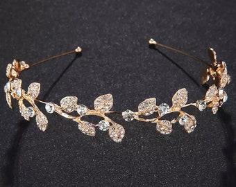 Beautiful, gold leaf bridal tiara