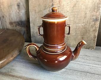 Théière en grès Français, terreux ferrugineux brun rustique, filtré, ferme Français, ensemble de 3 pièces
