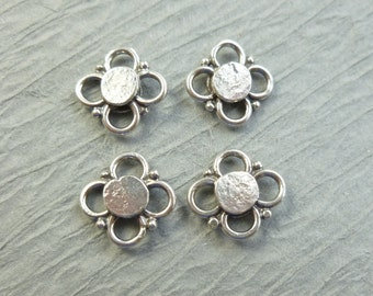 4 SILVER 925 FLOWER BEADS charms sterling silver 10mm