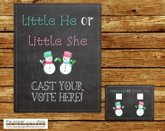 Snowman Gender Reveal Voting Ballots and Sign   Winter Gender Reveal Party   Pink and Blue Snowmen Gender Reveal Party   Voting Ballots