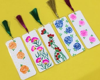 Hand-painted and laminated bookmarks with quotes on otherside-Any 4 for Rs. 250