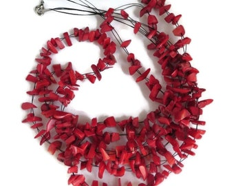 Vintage Coral Necklace, Red Bead Jewelry Set, Faux Coral Necklace, Bracelet, Triple Strand Necklace, Wrap Bracelet, Island Jewelry