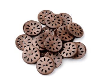 6 boutons de bois fleur dentelle 30mm