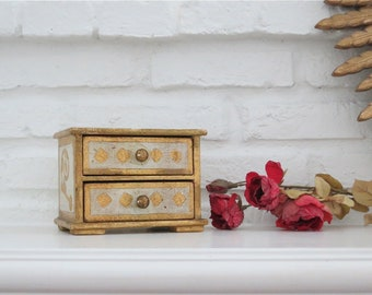 Florentine Jewelry Box, Vintage Italian Florentine Jewelry Storage, 2 Drawer Box, Jewelry Box, Cream & Gold Finish, Made in Italy