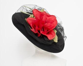 Vintage 40s Hat - Wide Brim Black Wool Millinery Rose Floral Oversized 1940s