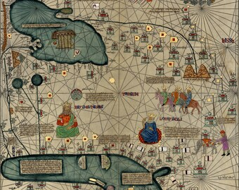 Cresques Catalan Atlas; World Map; 1387; Antique Map; Plate 2 of 3