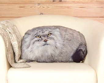 Manul Pillow, pallas cat, woodland animal pillow, stuffed animal, forest animals