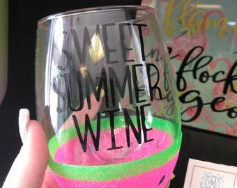 Watermelon Wine Glass // Glitter Dipped //Sweet Summer Wine // Personalized // Stemless Wine Glass // Fruit