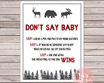 Don't Say Baby Printable Game, Baby Shower / Baby Sprinkle Instant Download, Woodland / Forest Theme