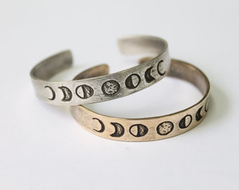 Moon phases cuff bracelet