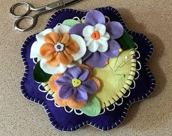 Wool Felt Pincushion Purple Flower
