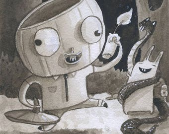 Dumbest Pumpkin - Original Watercolor - Mab's Drawlloween Club Day 18