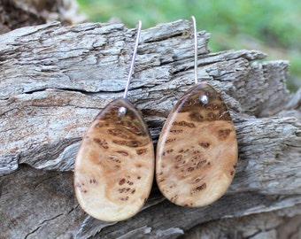 Australian Wood Earrings - Australian Rib Fruited Mallee Drop Sterling Silver Earring - Hand Made