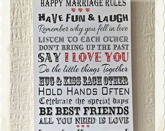Happy Marriage Rules Perfect Wedding Gift Wooden Card Wishes W103