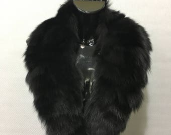 Genuine Real Black Fox Fur Collar