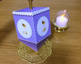 Hanukkah Dreidel, printable dreidel template to creat 3D paper dreidels favors for chanukka decorations, Instant download Purple driedel.