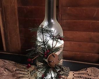 Pines lighted wine bottle