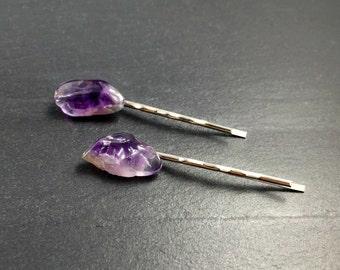 Crystal Hair Pins, Amethyst Hair Pins, Amethyst Bobby Pins, Crystal Hair Pins, Crystal Bobby Pins, Purple Hair Pins, Purple Bobby Pins