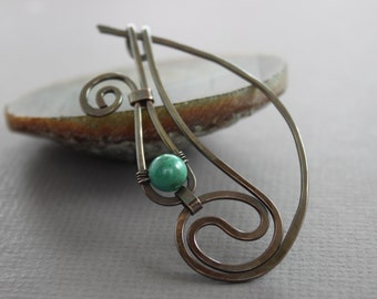 Swirly waves shawl pin or scarf pin with wrapped turquoise stone - Stone pin - Turquoise pin - Fibula - SP006